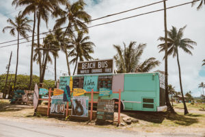 food truck with signs and surfboards parked underneath palm trees